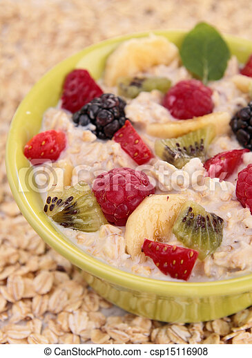 bowl of cereal, milk and fruit - csp15116908