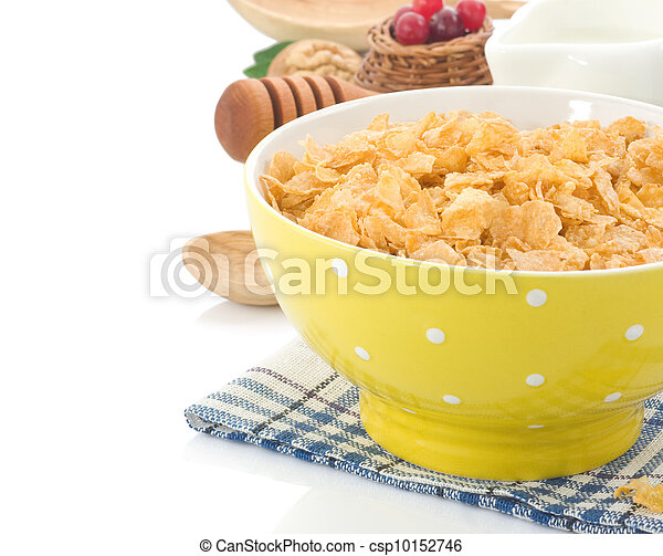Bowl of corn flakes and milk isolated on white - csp10152746