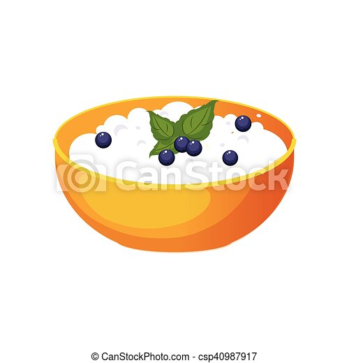 Bowl Of Cottage Cheese With Blueberry Milk Based Product Isolated Icon