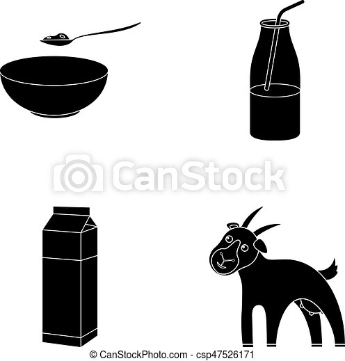 Bowl Of Cottage Cheese Yogurt Milk Package Goat Set Collection Icons In Black Style Vector