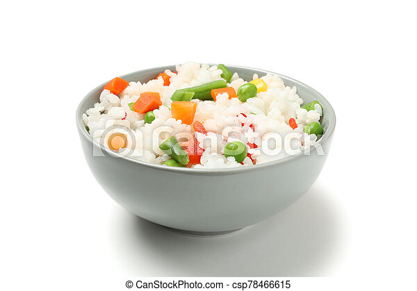 Bowl of delicious rice with vegetables isolated on white background - csp78466615