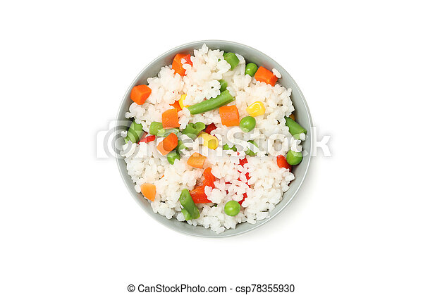 Bowl of delicious rice with vegetables isolated on white background - csp78355930