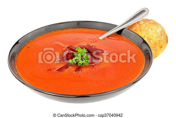 Bowl Of Fresh Beetroot Soup - csp37040942