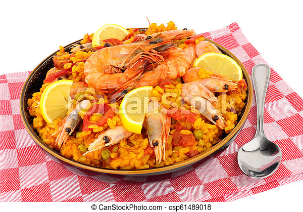 Bowl Of Fresh Prawn Seafood Paella - csp61489018