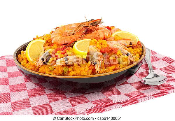 Bowl Of Fresh Prawn Seafood Paella - csp61488851