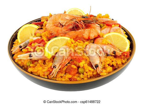 Bowl Of Fresh Prawn Seafood Paella - csp61488722