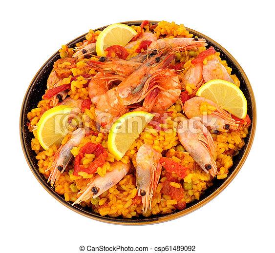 Bowl Of Fresh Prawn Seafood Paella - csp61489092