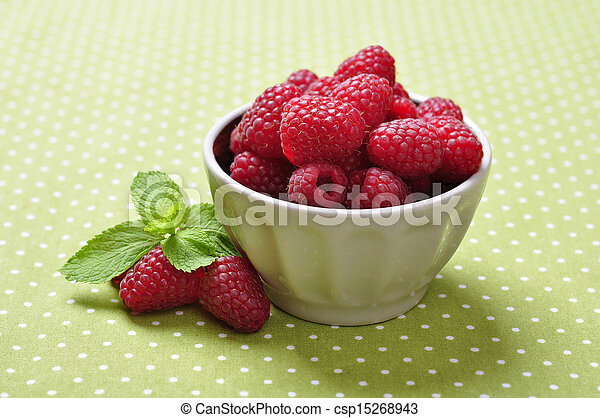 bowl of fresh raspberry - csp15268943