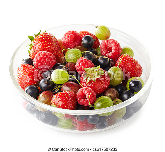 Bowl of fresh ripe berries on white background - csp17587233