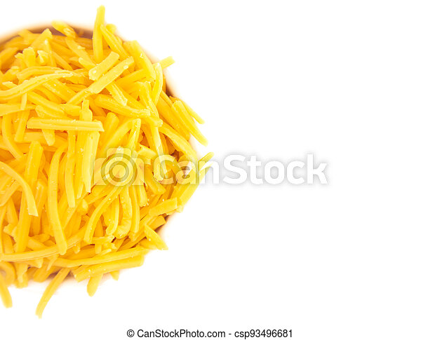 Bowl of Grated Cheddar Cheese on a White Background - csp93496681