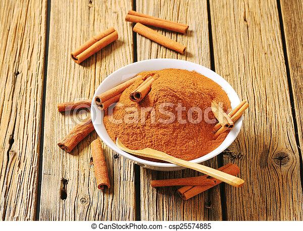 Bowl of ground cinnamon - csp25574885
