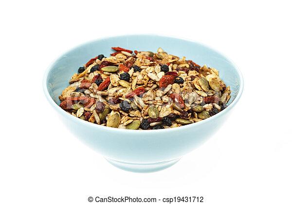 Bowl of homemade granola - csp19431712