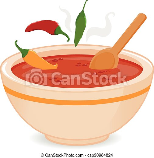 Bowl of hot chili soup. Vector Illustration - csp30984824
