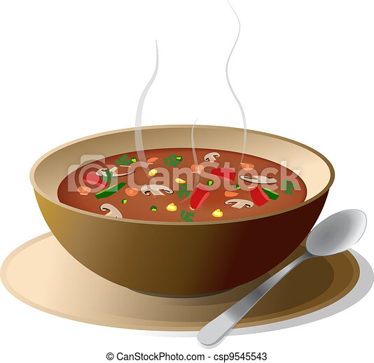 Bowl of hot vegetable soup - csp9545543