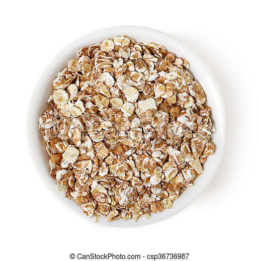 Bowl of oat flakes on white background, top view - csp36736987