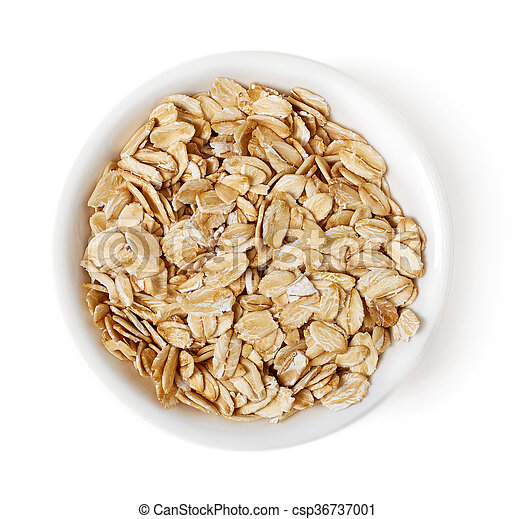 Bowl of oat flakes on white background, top view - csp36737001