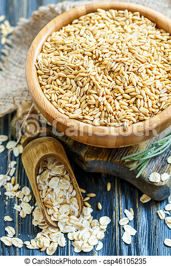 Bowl of oats and oat flakes in a wooden scoop. - csp46105235
