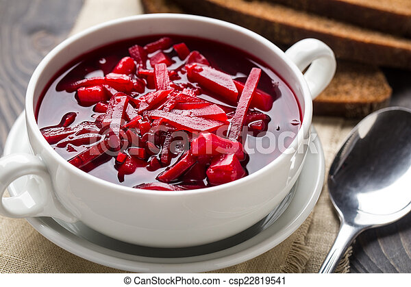 Bowl of red beetroot soup - csp22819541