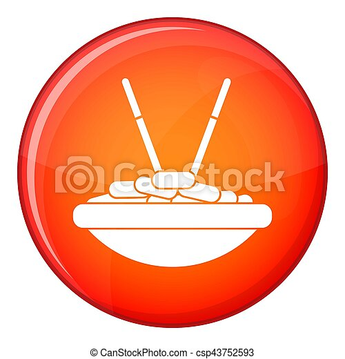 Bowl of rice with chopsticks icon, flat style - csp43752593