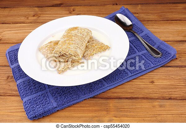 Bowl of Shredded Wheat Cereal - csp55454020