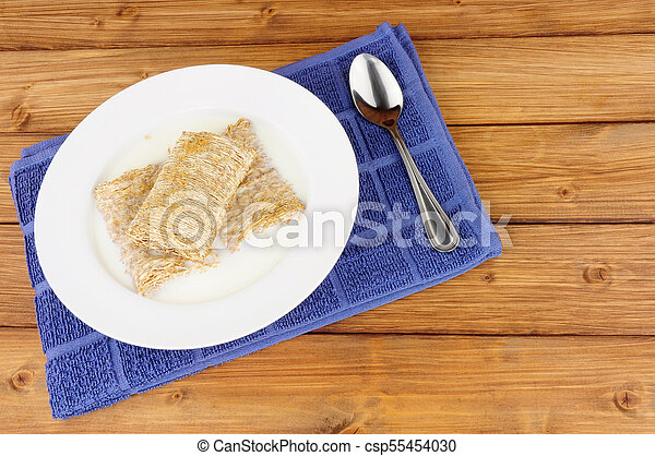 Bowl of Shredded Wheat Cereal - csp55454030