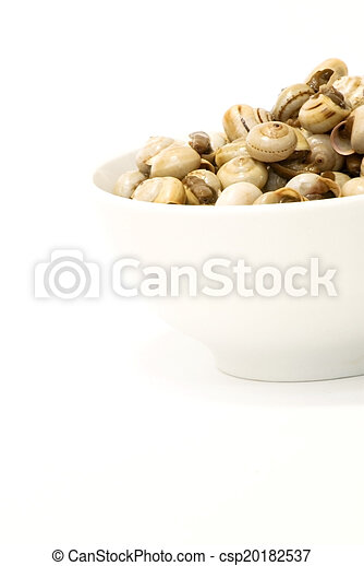 Bowl of snails in garlic, typical plate of Spain and France - csp20182537