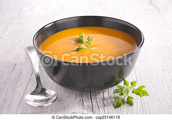 bowl of soup and parsley - csp23146118