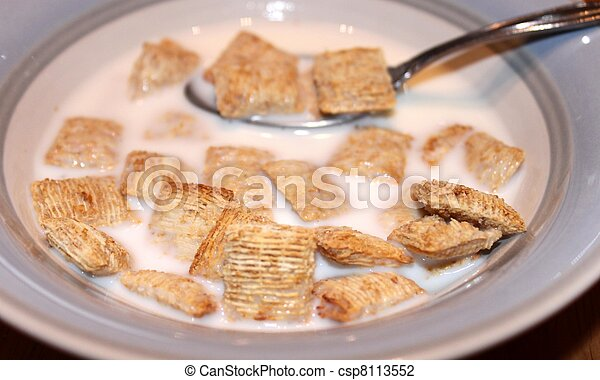 Bowl of wheat cereal and milk - csp8113552