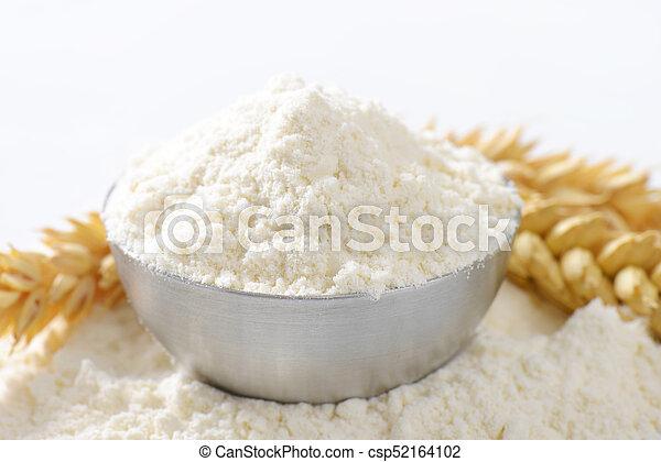 bowl of wheat flour - csp52164102