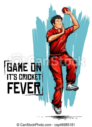 illustration of bowler bowling in cricket championship sports