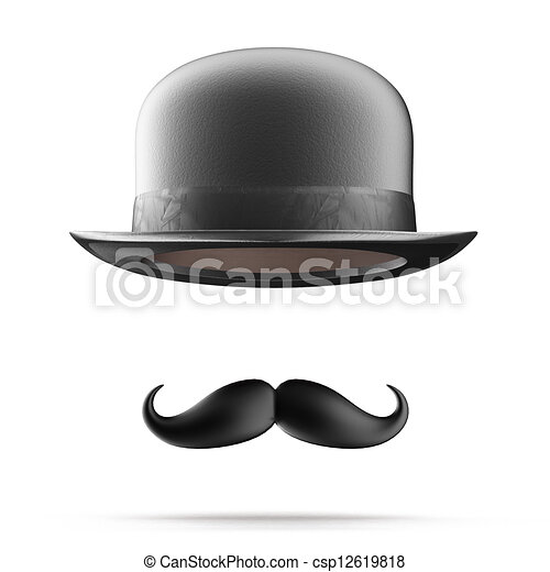 Bowler hat and mustaches - csp12619818
