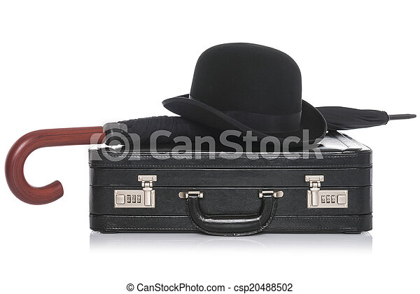 9492d74f18d Bowler hat briefcae and umbrella isolated on white. Black leather ...