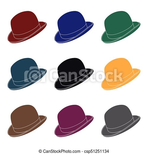 59cce25e4bd Bowler Hat Icon In Black Style Isolated On White Background. Hipster Style  Symbol Stock Vector