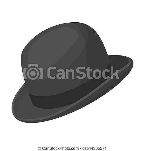 8ac8f62b053a7 Bowler hat icon in monochrome style isolated on white background. Hipster  style symbol stock bitmap