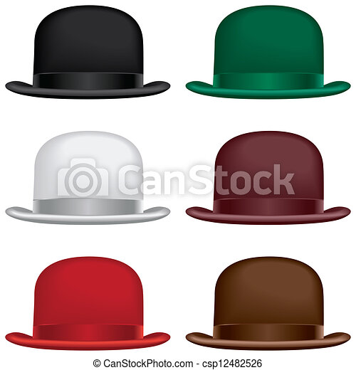 Bowler hat. A bowler or derby hat selection in black 944750b4308