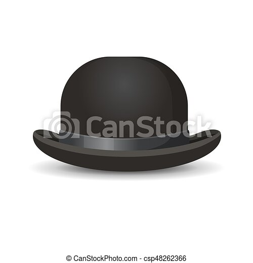 45dd870edb45a Bowler hat in black color isolated on white. vector illustration of one  decorative element for men wearing on head with formal suits.