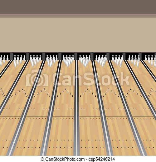 Bowling Alley Lane Pins Game - csp54246214