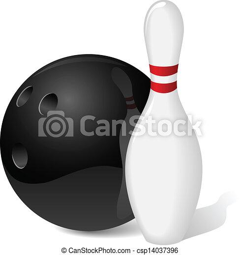 Bowling ball and pin - csp14037396