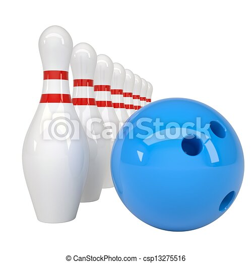 Bowling ball and pins - csp13275516