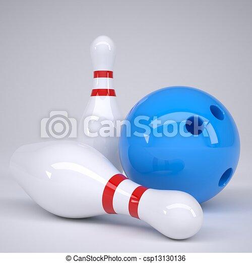 Bowling ball and pins - csp13130136
