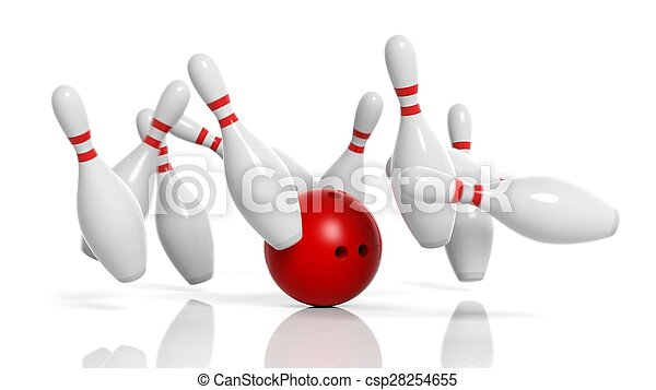 Bowling ball and pins in motion isolated on white background - csp28254655