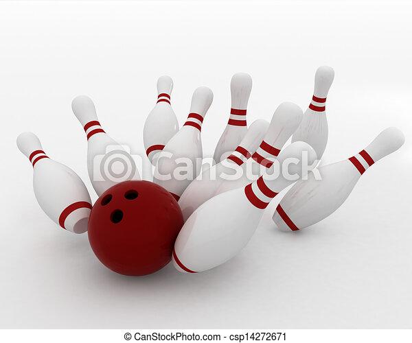 bowling ball crashing into the pin - csp14272671