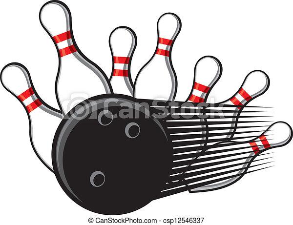 bowling ball crashing into the pins - csp12546337