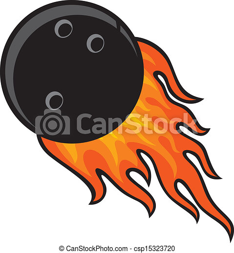 bowling ball in fire - csp15323720