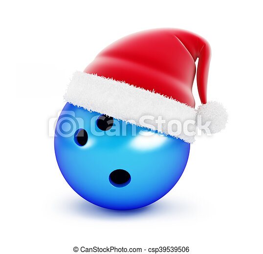 Bowling Ball santa hat on white background. 3d Illustrations - csp39539506