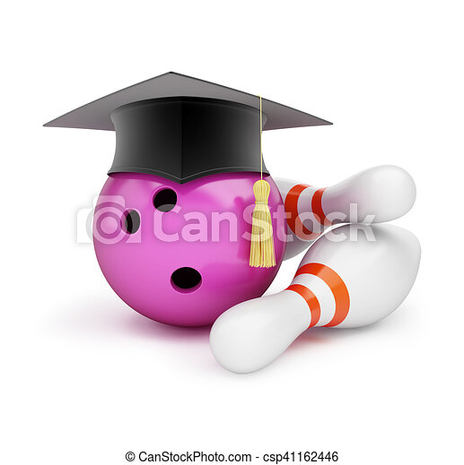 Bowling Ball with Graduation Cap 3D illustration on a white background - csp41162446