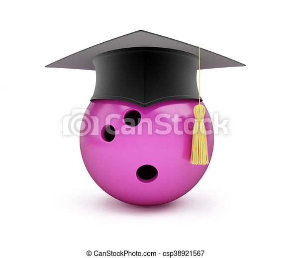 Bowling Ball with Graduation Cap 3D illustration on a white background - csp38921567