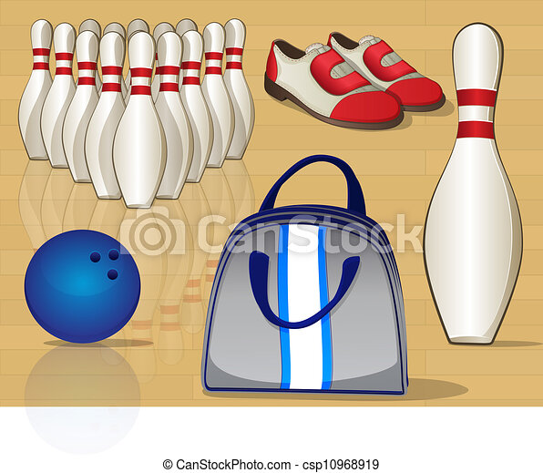 Bowling Equipment Icons - csp10968919