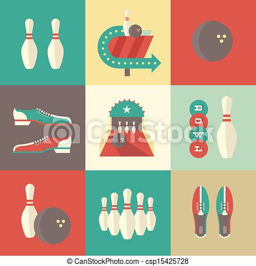 bowling, icônes - csp15425728
