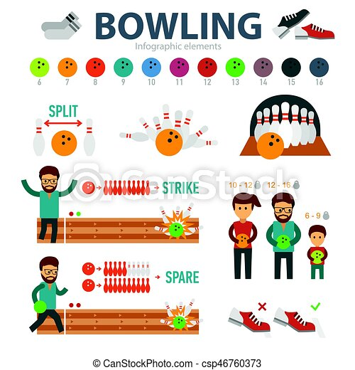 bowling infographic elements isolated on white background people rh canstockphoto ie skittles clipart black and white